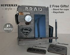 Mens birthday gift - Personalized Docking Station - Gift for Men, Batman vs Spiderman Gift for boyfriend, Gift for Husband, Gift for Dad Unique Gifts For Men, Unusual Gifts, Superman Gifts, All Iphones, Wooden Gifts, Practical Gifts, Docking Station, Picture Design, Gifts For Husband