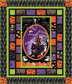 Quilt patterns using a panel frightful and delightful is one of images from halloween quilt panel. Find more halloween quilt panel images like this one in this gallery Halloween Quilt Patterns, Halloween Quilts, Halloween Fabric, Quilting Projects, Quilting Designs, Quilting Ideas, Sewing Projects, Quilting Tutorials, Sewing Crafts