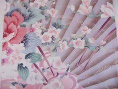 Vintage Furisode kimono silk, vintage japanese kimonos,  flower cart, pink silk fabric, young girls kimono, floral silk, swinging sleeves via Etsy