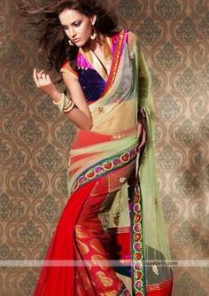 This stylish saree is designed for only wedding function. Half-n-half pattern and color combination makes it differ for regular saree. Perfect selection for any special occasion. http://goodbells.com/saree/red-saree-with-light-green-pallu.html