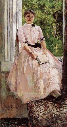 Portrait of the Artist Tatiana Lyubatovich (c. 1886). Konstantin Korovin (Russian, Impressionism, 1861-1939). Oil on canvas. Russian Museum, St. Petersburg.
