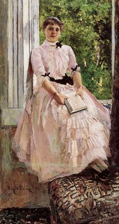 Portrait of the Artist Tatiana Lyubatovich (c. 1886). Konstantin Korovin (Russian, Impressionism, 1861-1939). Oil on canvas. Russian Museum, St. Petersburg.