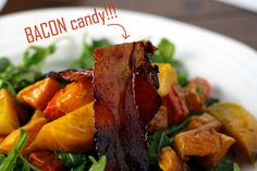 Roasted balsamic squash and root veggie salad with candied bacon! Root Vegetables, Roasted Vegetables, Veggies, Bacon Salad, Bacon Bacon, Candied Bacon, Orchards, Alpacas, Vegetable Salad