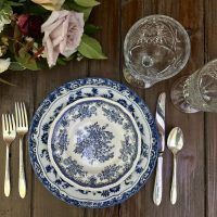 BOHO Blues Collection of Blue and White Mismatched Vintage China  Dixie Does Vintage Rentals in Dallas Tx & DFW @dixiedoesvintage