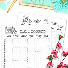 "A visual planning system often helps to remember better and find specific notes more easily. So let this beautiful Calendex help you to stay on top of your appointments and deadlines planned.   Each sticker sheet is hand-drawn and afterward vectorized so it prints beautifully. They each are printed on matte white sticker paper and measure 7.25"" x 5"". The paper is perfect for coloring and all sticker sheets fit the back pocket of your A5 Leuchtturm1917 Bullet Journal like a sleeve."