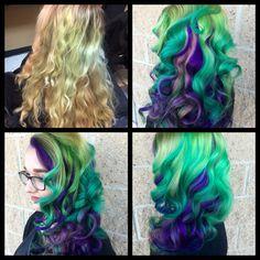 Hand painted highlights. Color done by Lindz Carmine&Co. Hair Salon. Pravanna Vivids