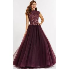 Alyce 27140 Prom Ball Gown Long High Neckline Short Sleeve ($478) ❤ liked on Polyvore featuring dresses, gowns, formal dresses, prom dresses, prom gowns, long lace gown, formal evening gowns and purple prom dresses