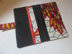 Portefeuille en wax tissu à motif africain rouge noir jaune