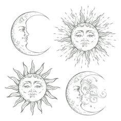 Chic Tattoo, Boho Tattoos, Sun Tattoos, Flash Tattoos, Tattoo Sketches, Tattoo Drawings, Art Drawings, Art Sketches, Hand Kunst