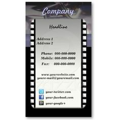 Filmmaker's business card | Business, Cards and Business cards