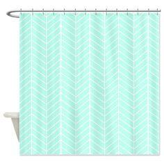 Mint Green Herringbone Shower Curtain On CafePress
