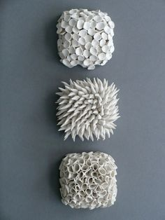 """Set of 3 Micro Tiles - Textured Porcelain Ceramic Decorative Wall Sculpture Decor"" by elementclaystudio"