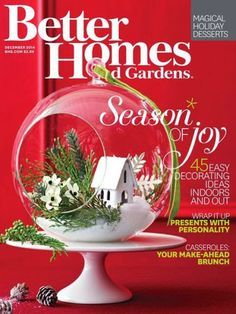 As seen in Better Homes & Gardens! Hanging terrariums can be both appealing and eco-friendly. Most have flat bottoms so you can choose to hang it or place in on a table. Fill these centerpiece glasses Christmas Projects, Holiday Crafts, Christmas Holidays, Christmas Bulbs, Christmas Decorations, Christmas Ideas, Christmas Centrepieces, Yule Crafts, Christmas Garlands