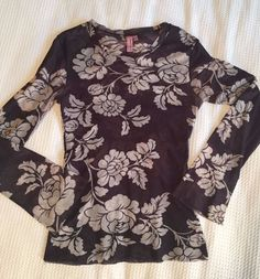 Sweet Pea Stacy Frati Black Ivory Floral Print Long Sleeve Nylon Shirt Sz XL | Clothing, Shoes & Accessories, Women's Clothing, Tops & Blouses | eBay!