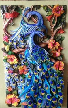 I am so envious of this person's talent and whoever gets to own this. I like peacocks. Is this paper art or polymer clay? Just beautiful! Clay Wall Art, 3d Wall Art, Art Quilling, Quilling Designs, Art Mural 3d, Murals, Polymer Clay Kunst, Plaster Art, Sculpture Painting