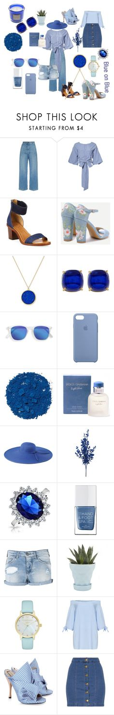 """Blue"" by bren-fashun on Polyvore featuring Rachel Comey, J.O.A., Frye, Lauren Ralph Lauren, Trina Turk, Apple, Illamasqua, Dolce&Gabbana, San Diego Hat Co. and Bling Jewelry"