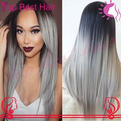 7A Brazilian Silver Human Natural Hair Wig Ombre 1b / Grey Two Tone Color Glueless Silky Straight RPG Show Full Lace Virgin Wig