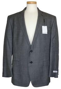 NEW Calvin Klein Mens Sport Coat Jacket Blazer Slim Fit Silk Wool Black 44R $350 #CalvinKlein #TwoButton