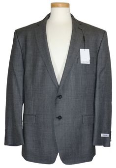 NEW Calvin Klein Mens Sport Coat Jacket Blazer Slim Fit Silk Wool Black 44R $350 #CalvinKlein #TwoButton