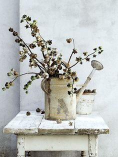 Pretty shabby chic rustic watering can setting! Vintage Decor, Rustic Decor, Farmhouse Decor, Farmhouse Rules, Country Farmhouse, Rustic Chic, Rustic Style, Country Decor, Unique Vintage