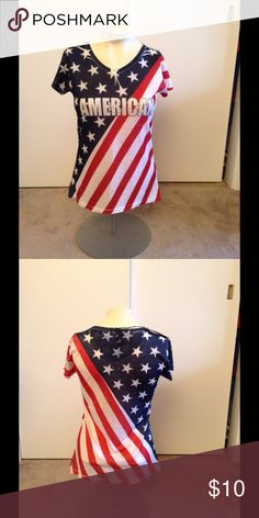 American Flag Top🇺🇸🇺🇸🎀BUNDLE ONLY NWT American Flag T-shirt. Junior L 60% cotton 40 % polyester . Embellished with rhinestones. True Rock Tops Tees - Short Sleeve