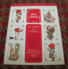 Vintage Holly Hobbie Lil Labels for Christmas 1979 Holiday 31 Seals Stickers #AmericanGreetings