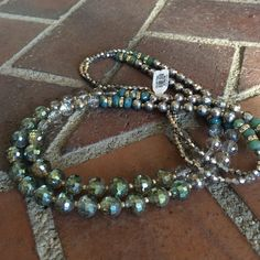 Francesca double strand blue and silver necklace Double strand glass beads. Never been worn necklace. Perfect condition. Still has tags on it. Francesca's Collections Jewelry Necklaces