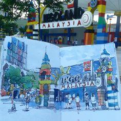 Lets visit Legoland!!! #urbansketchers #johorsketchers #malaysia #sketch #sketching #sketchbook #sketchbooks #johorbahru #johor #jbhappening | por Hafizal_Nordin