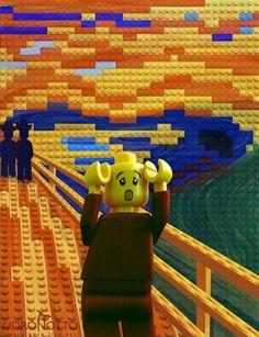 LEGO x Scream - Homage to Edvard Munch (The scream) - Marco Pece Edvard Munch, Design Lego, Le Cri Munch, Scream Parody, Scream 3, Deco Lego, Tableaux Vivants, Grant Wood, Famous Artwork