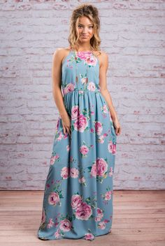 Looking for the perfect spring vacay dress? Look no further! We found it for you! This gorgeous floral maxi dress is just what you need! It's so light and that print has spring written all over it!  Material has no amount of stretch. Judith is wearing the small. Sizes fit: Small- 0-4; Medium- 6; Large- 8-10