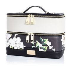 River Island Black floral print vanity case ($36) ❤ liked on Polyvore featuring beauty products, beauty accessories, bags & cases, bags, accessories, beauty, luggage, makeup and river island
