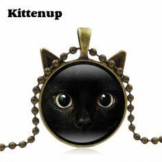 Kittenup Fashion Cute Black Cat Art Photo Glass Pendant Necklaces For Women Men Bronze Silver Color Chain