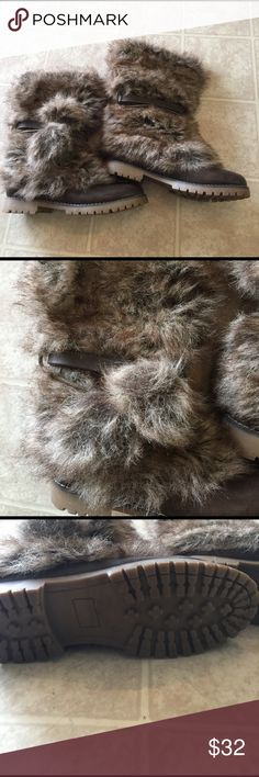 Faux fur boots Super fuzzy furry boots!! Faux fur boots nice to keep you warm on those cold days but still cute and fashionable with faux leather straps Wanted Shoes Winter & Rain Boots