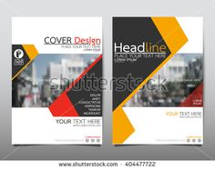 Yellow and red annual report brochure flyer design template vector, Leaflet cover presentation abstract flat background, layout in A4 size