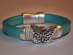 Butterfly Women's bracelet  Leather jewelry  Silver por NatBoutique