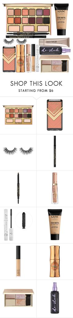 """Just because we wear makeup doesn't mean we can't kick your a.ss."" by thelyricsmatter ❤ liked on Polyvore featuring beauty, Kandee, Velour Lashes, Too Faced Cosmetics, too cool for school, NYX, NARS Cosmetics, Benefit, Urban Decay and Laura Mercier"