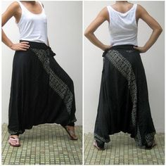 Black Harem Pants with Cool Pattern | Handmadeministry - Clothing on ArtFire