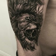 Close up of the lion. Bob Marley lion half sleeve