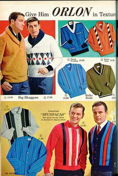 Orlon sweaters by the frog's eyebrows, via Flickr #menswear