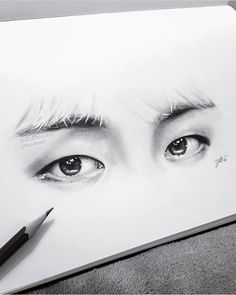 # taehyung # eyes # V # fanart Kpop Drawings, Pencil Art Drawings, Drawing Sketches, Drawing Eyes, Taehyung, Bts Eyes, Fanart Bts, Eye Sketch, Fan Art