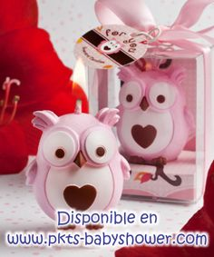 Recuerdos para Baby Shower - Vela Buho Rosa - Disponible en www.pkts-babyshower.com