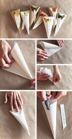 Embalagens para lembrancinhas de casamento cones com borboletas Mais