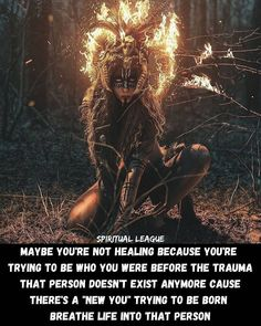 Positive healing quotes with Image : Maybe you're not healing because you're trying to be who were before the trauma, that person doesn't exist anymore Spiritual Enlightenment, Spiritual Wisdom, Spiritual Growth, Spiritual Awakening, Warrior Goddess Training, Wiccan Spell Book, Awakening Quotes, Healing Quotes, Metaphysical Quotes