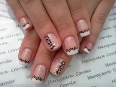 nails Rose Nails, Flower Nails, Pretty Nail Designs, Nail Art Designs, Nancy Nails, Black And White Nail Art, Nail Art Photos, Dipped Nails, Nail Patterns
