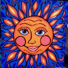 Sun painting acrylic on wood by Gemma flavin