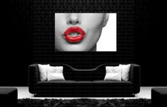 Red Lips Canvas Home Wall Art Print Decor