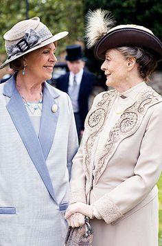 "happymathilda: "" ""Penelope Wilton and Maggie Smith behind the scenes | Downton Abbey season 6 "" """