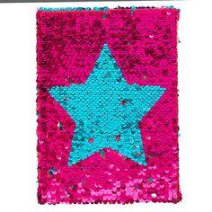 Reversible Pink And Mint Sequin Star Notebook, Cute Spiral Notebooks, Beautiful Notebooks, Cute Notebooks, Cute Journals, Baby Alive Dolls, Tween Girl Gifts, Girls Diary, Cute Pens, Cute School Supplies