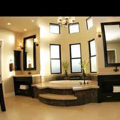 Master bathroom jacuzzi in corner insert