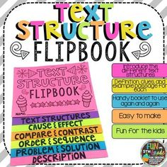 Nonfiction Text Structure Flipbook Activity Types Of Text Structure, Text Types, Text Structures, 7th Grade Ela, Third Grade Reading, Sixth Grade, Reading Skills, Study Skills, Word Families